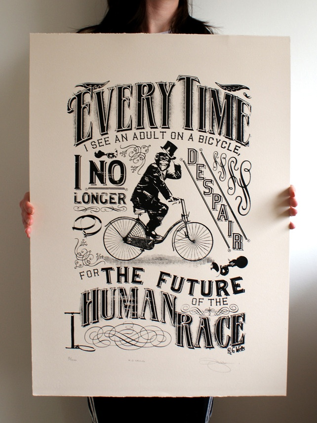 H.G Wells 'Bicycle' Hand Pulled Limited Edition Screen Print £25.00