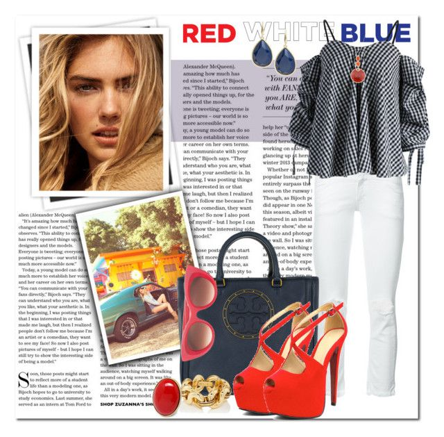 Red, White & Blue: Celebrate the 4th!_Going with Gingham by msmith801 on Polyvore featuring polyvore fashion style Chicwish Closed Tory Burch Trina Turk Fantasy Jewelry Box Thierry Lasry GALA clothing