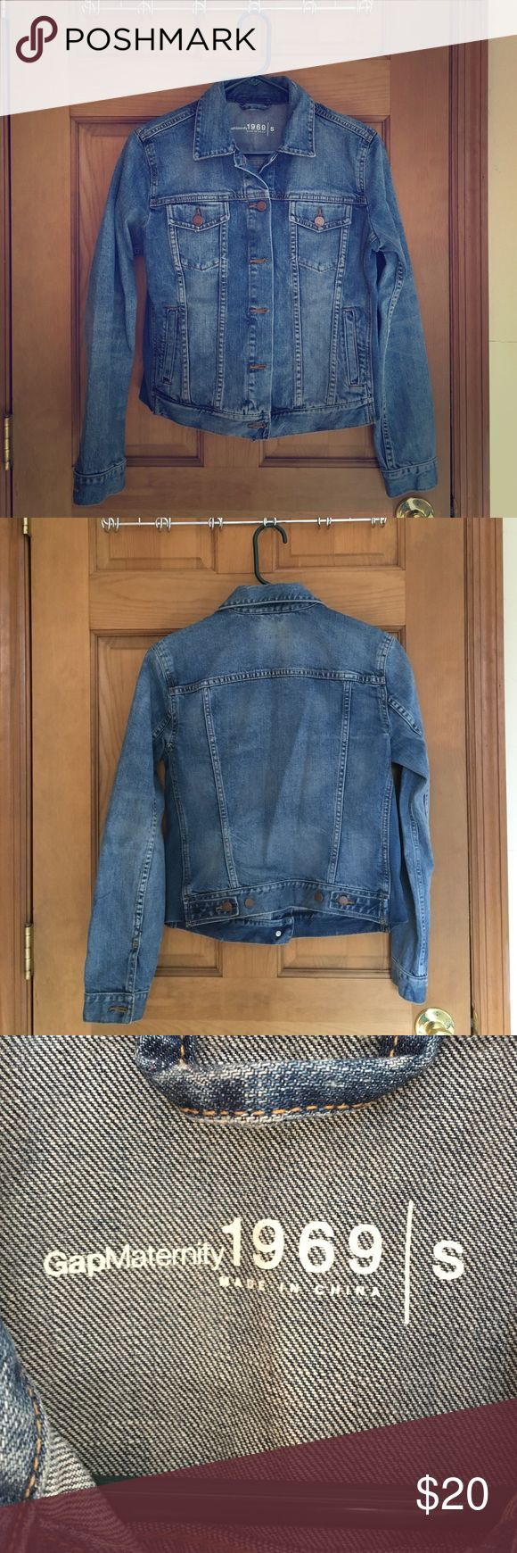 """GAP Maternity Denim Jacket, size small Only worn once, no sign of wear. Subtle distressed details throughout, and intentionally """"worn"""" style. It's a maternity jacket, so the sides have very subtle stretchy panels (see fourth picture). It fits like a regular oversized denim jacket if you aren't pregnant - super comfortable! GAP Jackets & Coats Jean Jackets"""