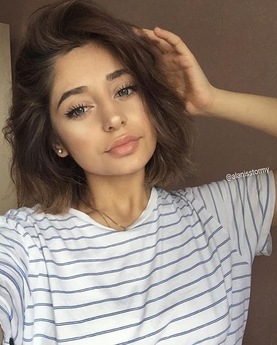 Cute short hair chic with Long Natural Lashes