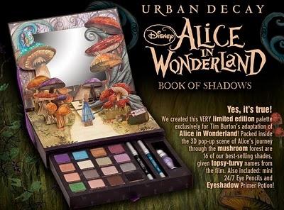 Alice In Wonderland Merchandise, Tim Burton, Mad Hatter, Clothing, Dolls, Jewellery: Urban Decay Book of Shadows - Alice Makeup Palette