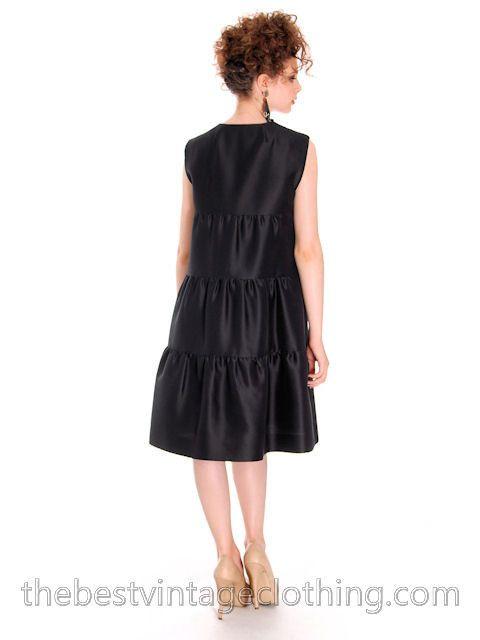 Vintage Black Silk Cocktail Gown Schiaparelli Couture 1960s Paris Medium - The Best Vintage Clothing  - 3