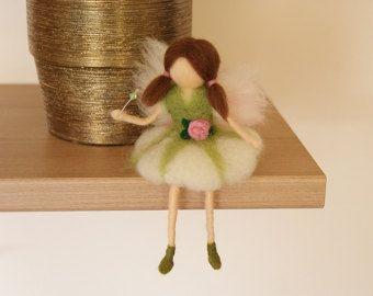 Little Wool Fairy,Sitting fairy, needle felted fairy, Waldorf fairy, Fairy miniature, Waldorf Inspired Wool Fairy, Waldorf Nursery Decor