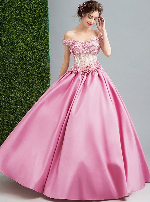 In Stock:Ship in 48 hours Pink Satin Off The Shoulder Wedding Dress