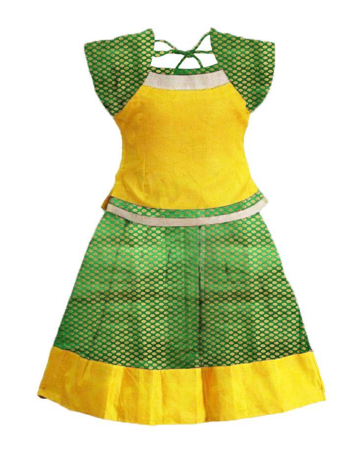 #readymadePattupavadai #kidspattupavadai green with yellow Pattu pavadai