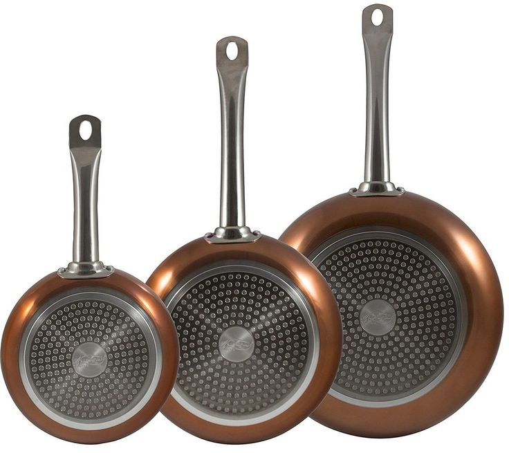 Copper Frying Pan Proffesional Set of 3  Non Stick Induction use