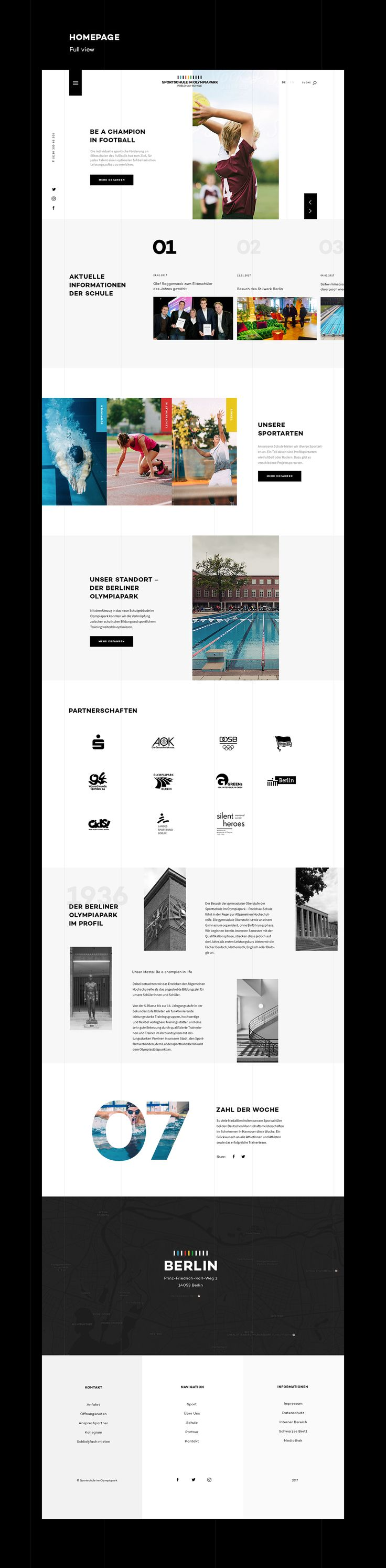 A fun project and non-official redesign of the school website, based on the corporate design, I made for the school.