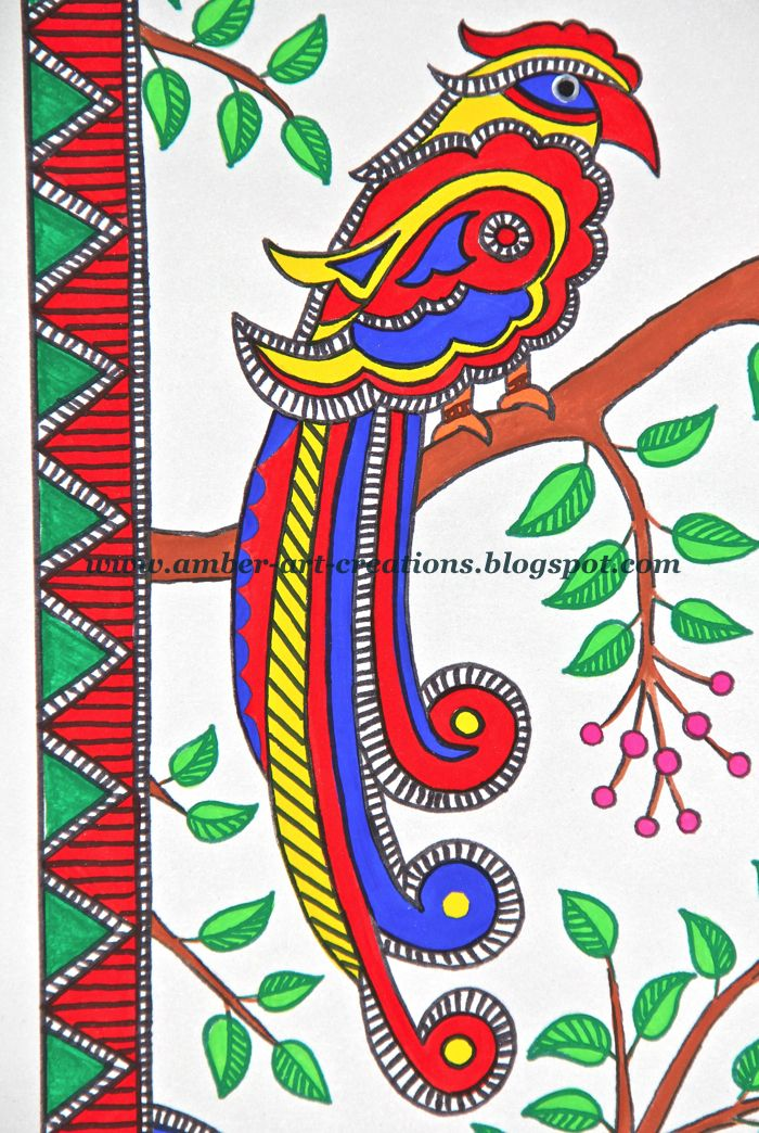 Amber-art-creations, arts, crafts and DIY projects: Madhubani Painting....Birds in Love