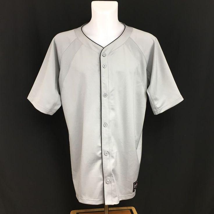 Under Armour Plain Gray Button Front Baseball Softball Jersey Men's Size XL #UnderArmour