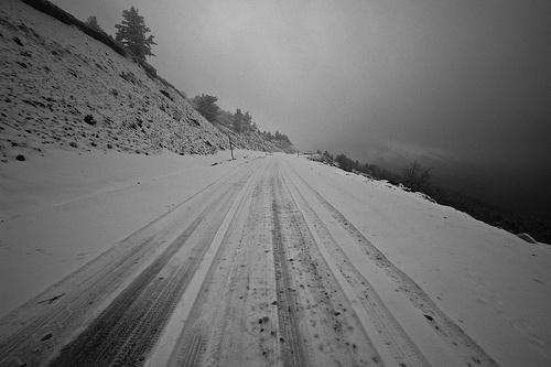 Snow On The Road in Zervi Kentriki Makedonia Greece