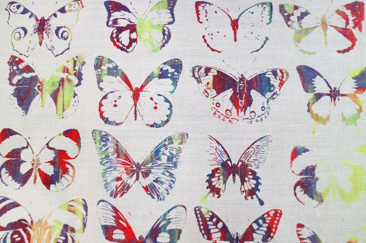 Multi-coloured butterfly prints on fabric using the Screen Sensation + Kaleidoscope screens