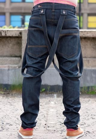 Dungarees style Drop crotch slim leg denim jeans with braces