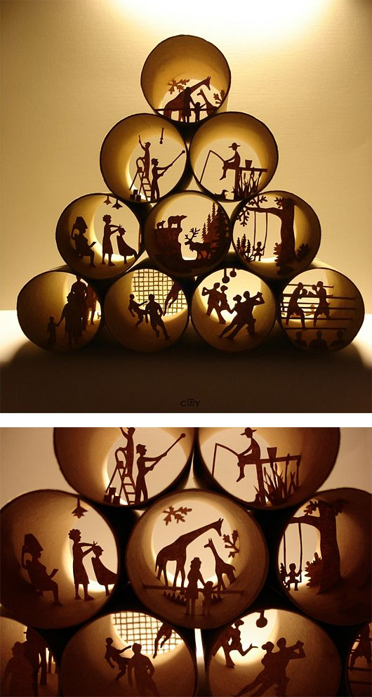 "Paper Cut Collages by Anastassia Elias. Back lit dioramas done inside toilet paper tubes. See her book ""Rouleaux"" Plus"