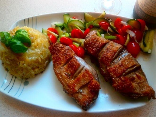 Kachní prsa, gratinované brambory