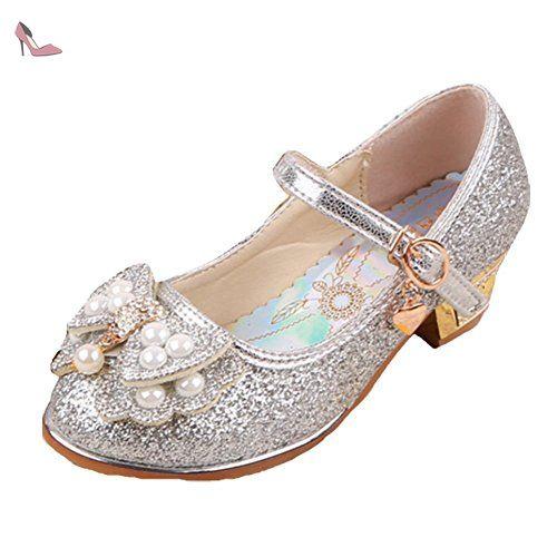 Ohmais Enfants Filles Chaussure cérémonie Ballerines à bride Fête Demoiselle d'honneur Mariage Escarpin à petit talon - Chaussures ohmais (*Partner-Link)