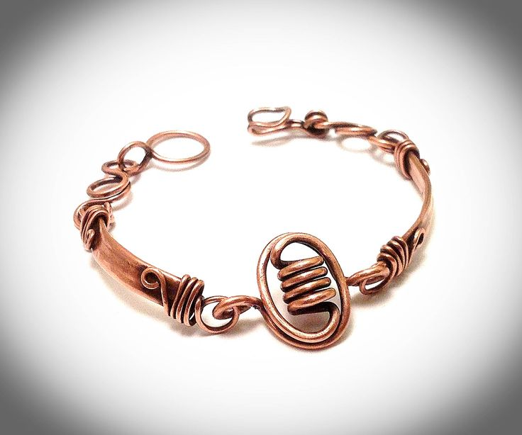 Copper bracelet. Bangle bracelet.Wire jewelry. Wire wrapped jewelry. Copper panel with corkscrew focal. by JCLwire on Etsy