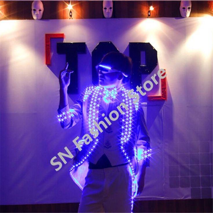 H0816 trajes terno flash LED emissor de Luz partido LIDERADO eventos festa de roupas trajes de dança de salão bar discoteca DJ usa bateria(China (Mainland))