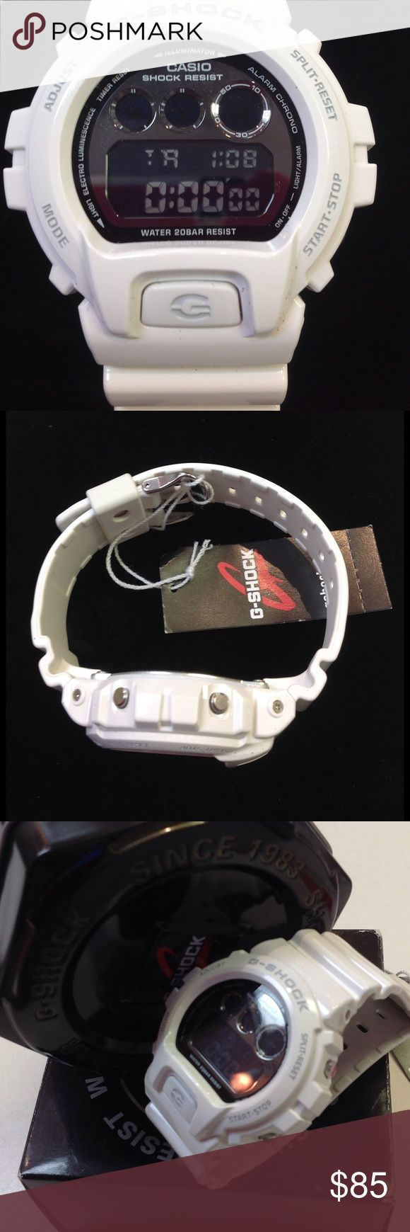 """Casio white g shock watch. Great for summer and travel . G shock watch by Casio. Water resists 20bar. Plastic band stainless back. Edge to edge 50mm. Band length including buckle 10"""" Casio Accessories Watches"""