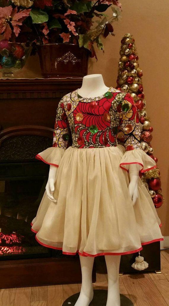Sequined Holland Wax Print Holiday Dress. Sash by NanayahStudio