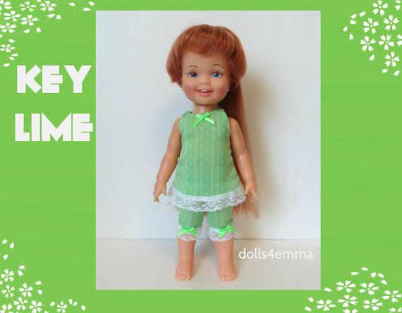 Vintage ideale kaneel Doll kleding - Lime-groene jurk en Capri broek - handgemaakte Custom Fashion - door dolls4emma