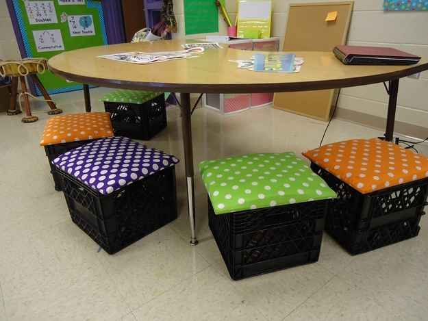 If you need something lower to the ground, go for some DIY milk crate seats. | 35 Money-Saving DIYs For Teachers On A Budget