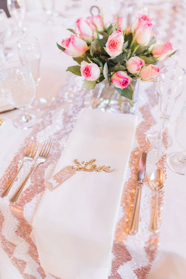 Love place setting    #wedding #weddings #weddingideas #aislesociety #realwedding #pinkwedding #metallics