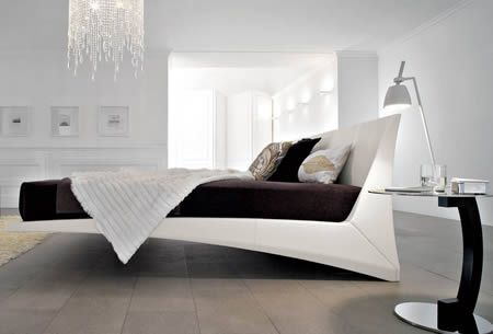 the hanging bed, not really hanging but appears to be floating, comes in king and queen, without mattress $5,500