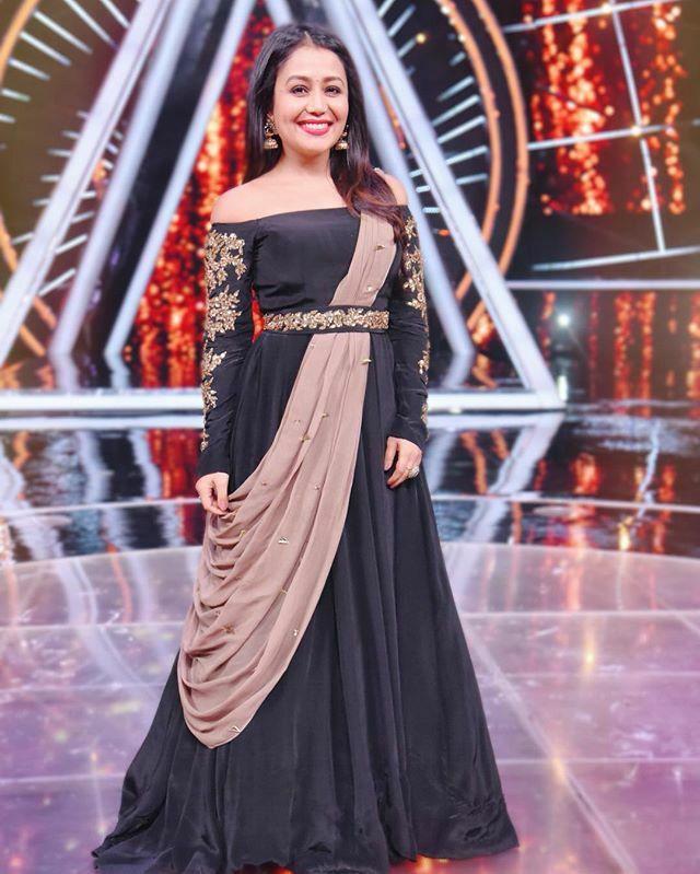Pin By Pari On Neha Kakkar Neha Kakkar Dresses Bollywood Outfits Designer Dresses Indian