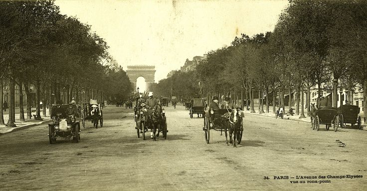 The famousChamps Elysees back in La Belle Epoc.. before world war one.. when motor cars were new-fangled. From an old panorama postcard.