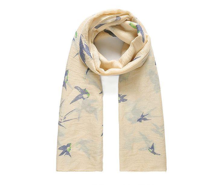 Vanilla/blue swallow print scarf