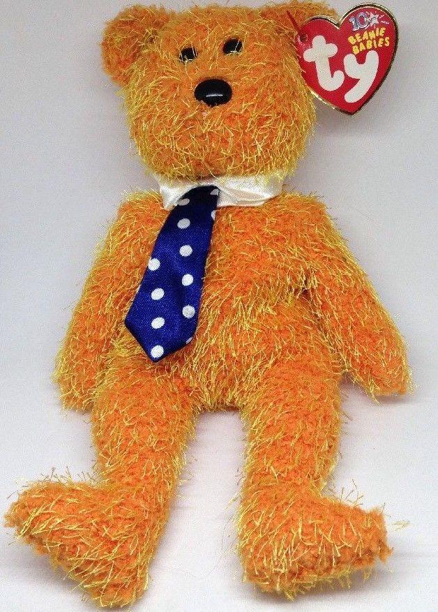 TY Beanie Baby orange PAPPA teddy Bear neck tie bean bag Stuffed Animal Toy   Ty 2267bf71a031
