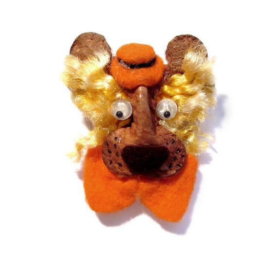 Handmade Lion Brooch Pin Leather Felt Brooches