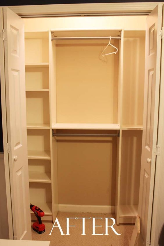 Great for organizing a small closet. Under $100 Closet System - a couple ikea bookshelves and some tension rods and there you have it!