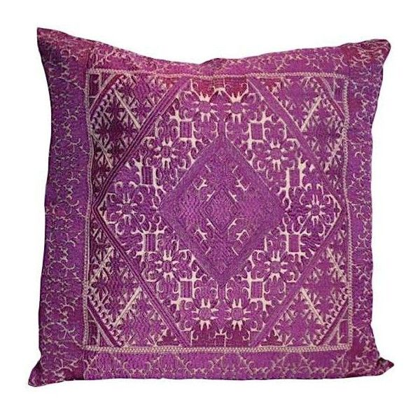 Swati Purple Embroidered Pillow ($148) ❤ liked on Polyvore featuring home, home decor, throw pillows, pillows, purple home accessories, purple toss pillows, purple throw pillows, purple accent pillows and colored throw pillows