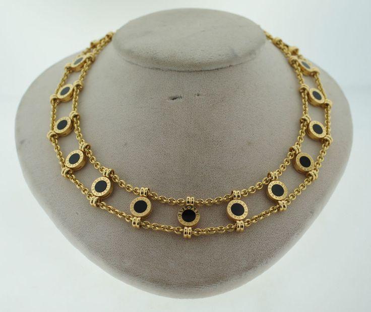 bulgari bvlgari collection 18k yellow gold black onyx double chain necklace