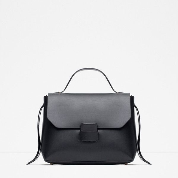 Zara Minimal City Bag ($70) via Polyvore featuring bags, handbags, black, black purse, zara bag, zara purse, zara handbags and black bag
