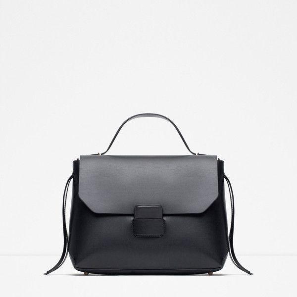 Zara Minimal City Bag (£50) ❤ liked on Polyvore featuring bags, handbags, black, black bag, black purse, city bag, zara bag and zara handbags