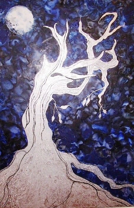 """TREE BENEATH THE MOON"" Encaustic Painting. FOR SALE: $600 (large canvas 70x90cm)"
