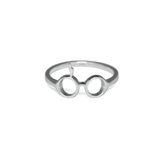 Anello argento Harry Potter, argento massiccio 925, bicchieri & Lightning Bolt anello, idee regalo di Harry Potter