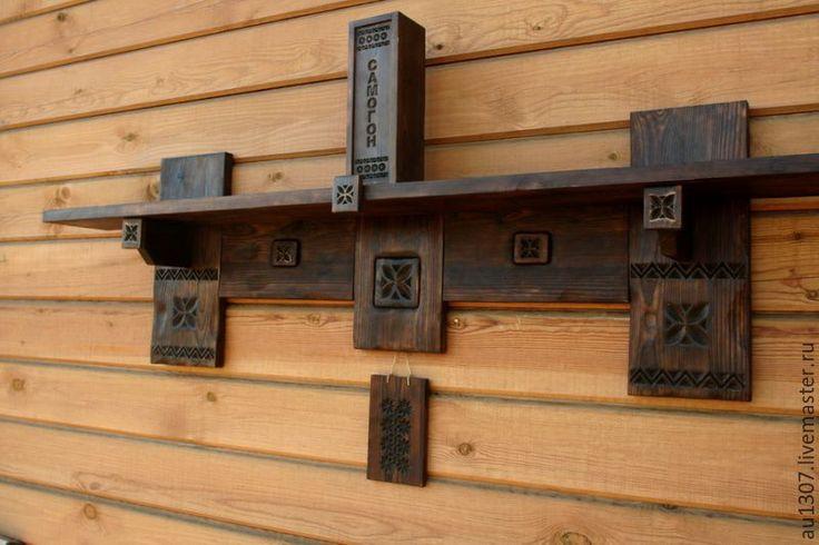Купить Полка в деревенском стиле - Мебель, мебель из дерева, русский стиль, кедр, резьба по дереву
