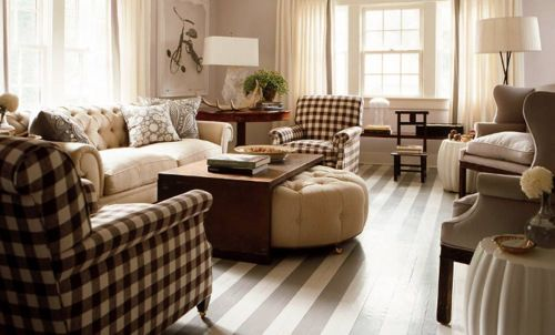 My favorite room...gingham chairs, stipe floor, bike artwork, dbl coffee table...swoon