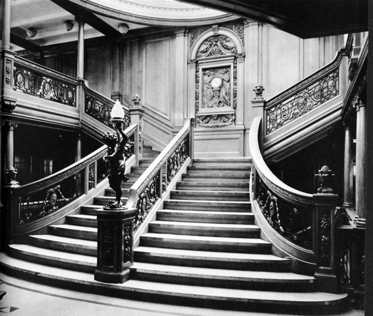 """Exquisite detail:  The grand staircase between the boat deck and the promenade deck aboard the RMS Titanic in an undated photo. A replica of the Titanic's grand staircase was seen in James Cameron's 1997 movie, """"Titanic."""""""