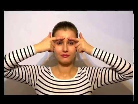 #Упражнение для мышц лба пальцы над бровями и тянем вниз