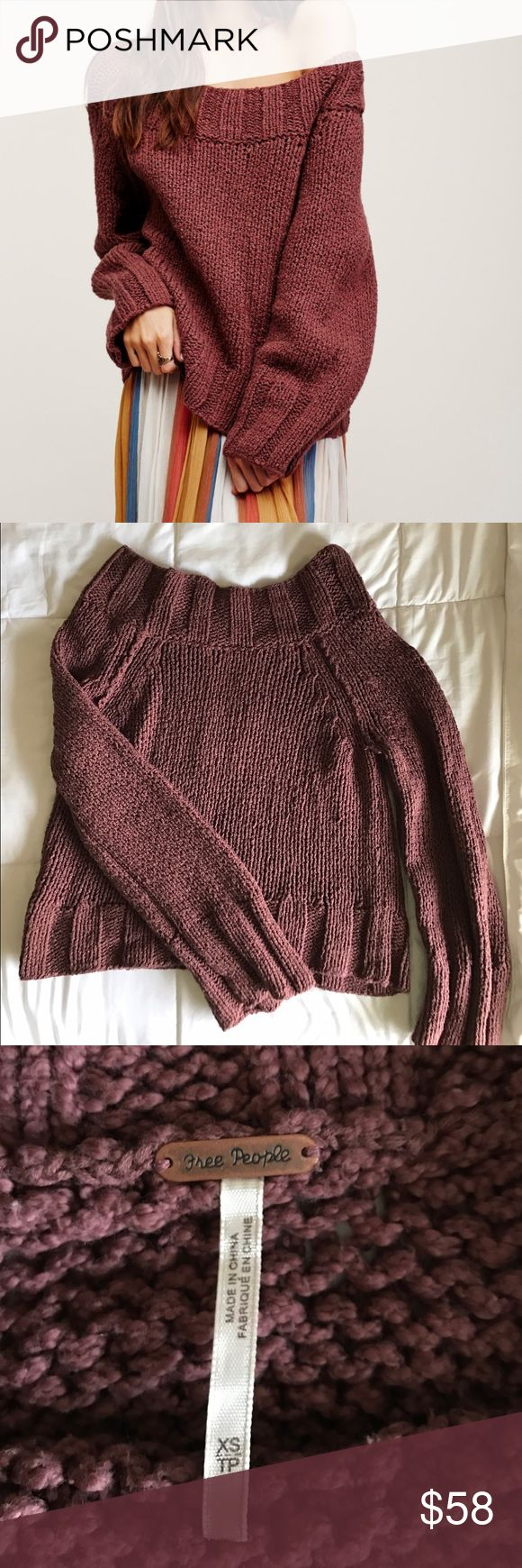 FP Beachy Slouch Pullover XS Super cute Free People mauvy brown knit pullover in XS. Runs loose and comfy; can fit XXS-S, maybe even some mediums. Can also be worn either as a wide scoop or off the shoulder- very versatile! Reposh; only worn once. No stains or flaws! Sold out in stores and hard to find Free People Sweaters