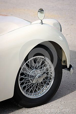 Detail of classic car, fender, wheel, and tire