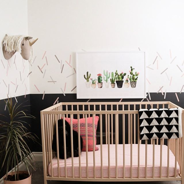 Half Wall Paint And A Decal Border Sign Me Up This Nursery Has The Right Mix Of Sophistication Girls Wall Decor Beautiful Nursery Decor Nursery Wall Decor