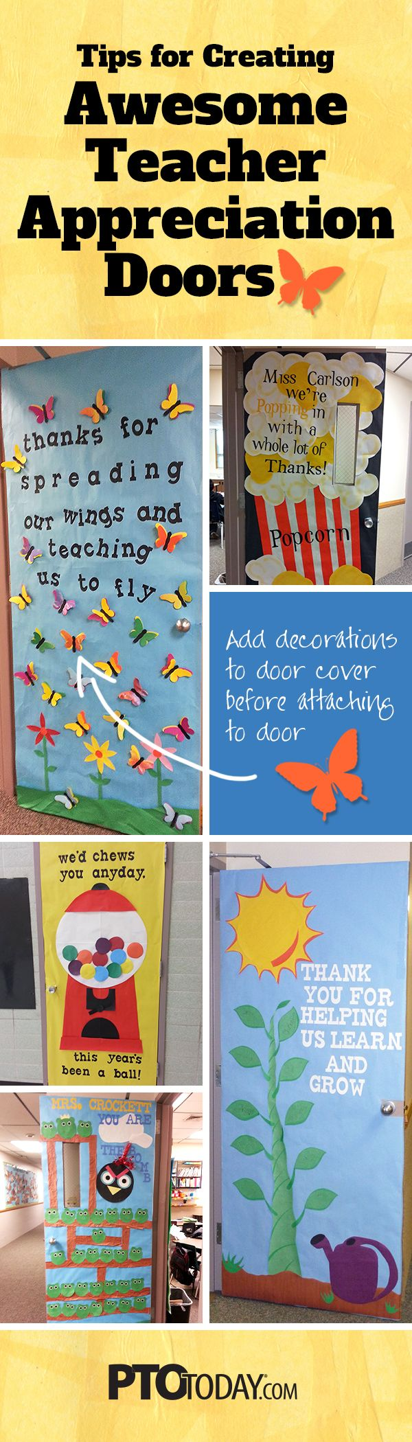 Teacher Appreciation Door Decorating Ideas-- Tips for PTO and PTA Leaders!