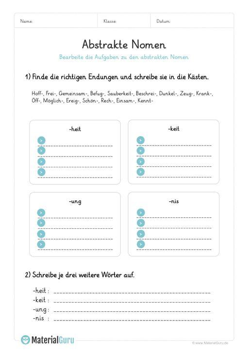 arbeitsblatt abstrakte nomen endungen finden arbeitsbl tter deutsche rechtschreibung. Black Bedroom Furniture Sets. Home Design Ideas