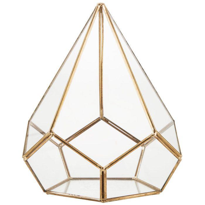 Gold Triangular Metal U0026 Glass Terrarium