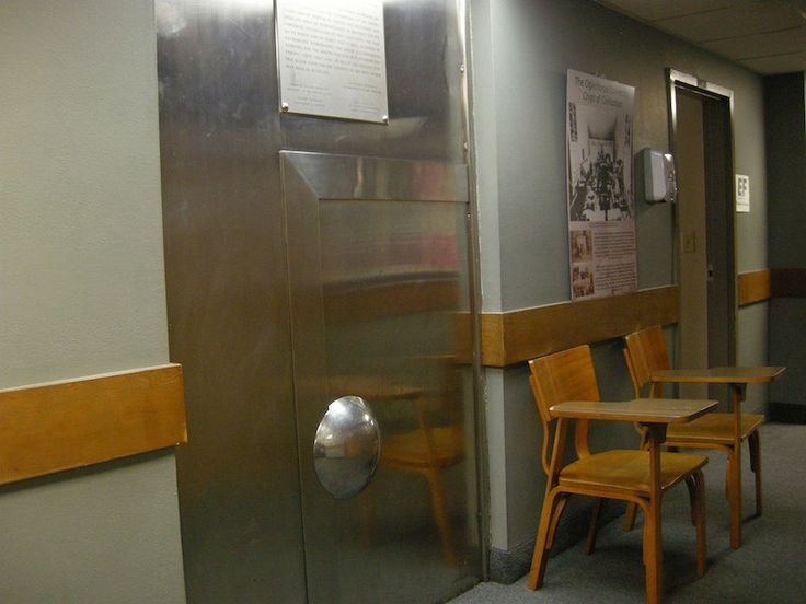 The entire thing is held behind this steel door in the basement of Oglethorpe University.
